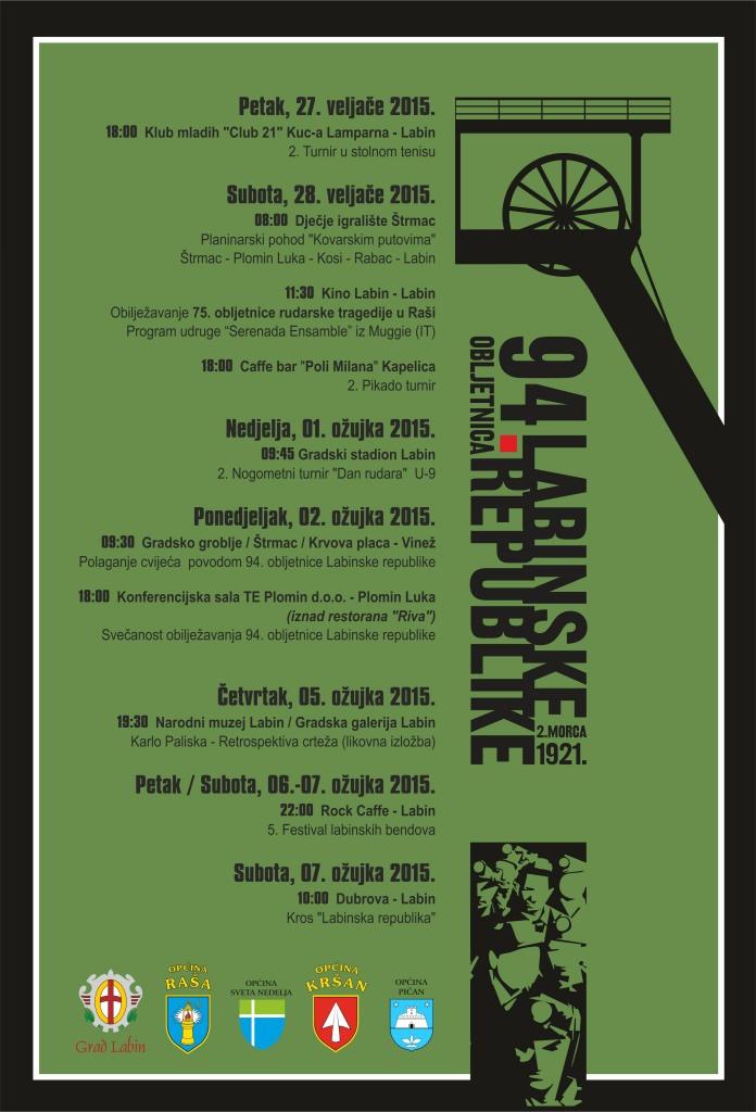 Program obilježavanja 94. obljetnice Labinske republike - PLAKAT