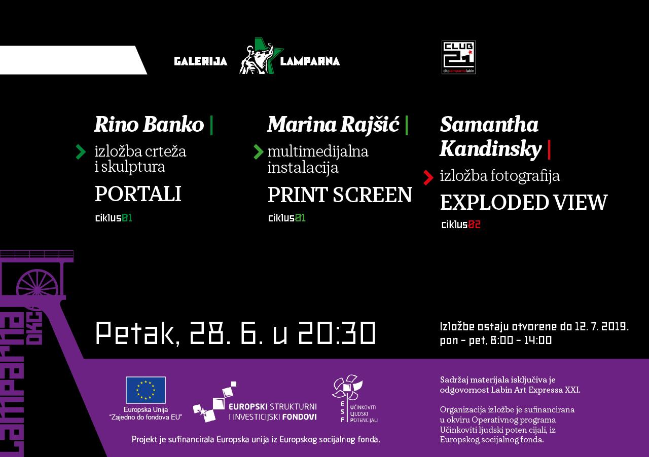Novo trostruko otvorenje izložbi mladih suvremenih umjetnika u DKC Lamparni u organizaciji Labin Art Expressa XXI  u petak 28/06
