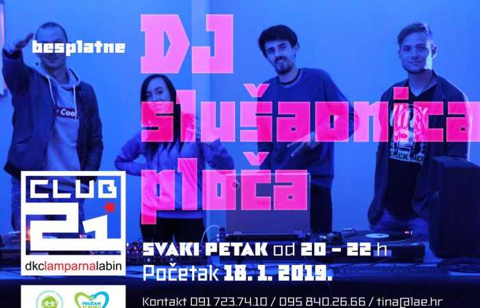 "Večeras startaju besplatne DJ Slušaonice ploča u Kluba mladih ""Klub 21"" DKC-a ""Lamparna"""